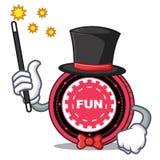 Fumetto della mascotte della moneta di FunFair del mago illustrazione vettoriale