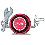 Fumetto della mascotte della moneta di FunFair del meccanico royalty illustrazione gratis