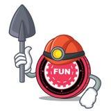 Fumetto della mascotte della moneta di FunFair del minatore illustrazione vettoriale