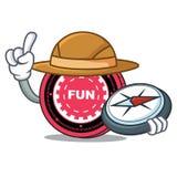 Fumetto della mascotte della moneta di FunFair dell'esploratore illustrazione di stock
