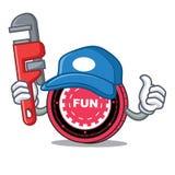 Fumetto della mascotte della moneta di FunFair dell'idraulico illustrazione vettoriale