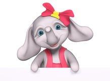 Fumetto della neonata dell'elefante con il manifesto, rappresentazione 3d Fotografia Stock