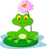 Fumetto della rana verde che si siede su una foglia Fotografia Stock