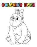 Fumetto della scimmia del libro da colorare Fotografia Stock Libera da Diritti