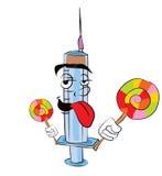 Fumetto della siringa con la lecca-lecca Fotografie Stock Libere da Diritti