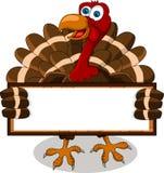 Fumetto della Turchia con la scheda in bianco Fotografia Stock