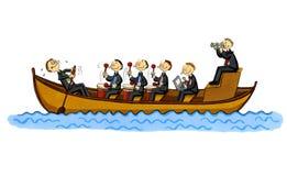 Fumetto di affari divertenti di una barca di riga Fotografia Stock