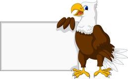 Fumetto di Eagle con il segno in bianco Fotografia Stock Libera da Diritti