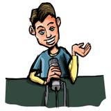 Fumetto di giovane radio DJ Immagini Stock Libere da Diritti