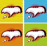 Fumetto di Halloween del pipistrello negli ambiti di provenienza di stile di Schiocco-Arte impostati Immagine Stock Libera da Diritti