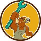 Fumetto di Hawk Mechanic Pipe Spanner Circle Fotografia Stock Libera da Diritti