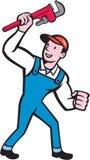 Fumetto di Holding Monkey Wrench dell'idraulico Fotografie Stock Libere da Diritti