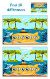 Fumetto di istruzione per trovare 10 differenze nelle immagini dei bambini subacquee Fotografia Stock Libera da Diritti