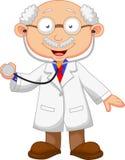 Fumetto di medico con lo stetoscopio Fotografia Stock