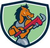 Fumetto di Monkey Wrench Crest dell'idraulico del cavallo Immagine Stock