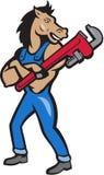 Fumetto di Monkey Wrench Standing dell'idraulico del cavallo Fotografie Stock Libere da Diritti