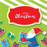 Fumetto di Natale di Santa Claus che tiene un contenitore di regalo con l'arco Cartolina d'auguri di Buon Natale del taglio della Immagini Stock