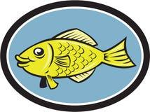 Fumetto di ovale di vista laterale del pesce di gorami nero Immagine Stock
