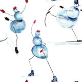 Fumetto di pattinaggio su ghiaccio del pupazzo di neve Fotografia Stock Libera da Diritti