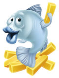 Fumetto di pesce e patate fritte illustrazione vettoriale