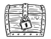 Fumetto di piccolo petto bloccato del pirata Immagini Stock