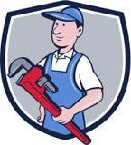 Fumetto di Pipe Wrench Crest del tuttofare Fotografie Stock