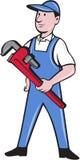 Fumetto di Pipe Wrench Standing del tuttofare Fotografia Stock Libera da Diritti
