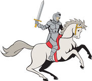 Fumetto di Riding Horse Sword del cavaliere Immagine Stock