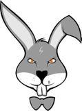 Fumetto di riserva del coniglio di logo con il legame Immagini Stock Libere da Diritti