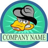 Fumetto di riserva dell'anatra di logo con il cappello Immagini Stock Libere da Diritti