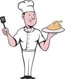 Fumetto di Roast Chicken Spatula del cuoco del cuoco unico Fotografie Stock