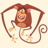 Fumetto di salto della scimmia sveglia Icona del disegno di vettore della scimmia sveglia isolata immagini stock