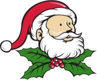Fumetto di Santa Claus Father Head Christmas Holly Fotografia Stock Libera da Diritti