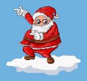 Fumetto di Santa su fondo blu Fotografia Stock Libera da Diritti