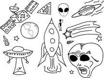 Fumetto di scarabocchio del UFO Fotografia Stock