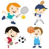 Fumetto di sport con la posizione differente quattro Fotografia Stock Libera da Diritti