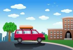 Fumetto di SUV davanti a costruzione royalty illustrazione gratis