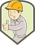 Fumetto di Thumbs Up Shield del muratore del costruttore Fotografia Stock