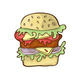 Fumetto di vettore dell'icona dell'hamburger degli alimenti a rapida preparazione disegnato a mano illustrazione di stock