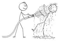Fumetto di vettore dell'uomo o dell'uomo d'affari Holding Fire Hose ed acqua di fucilazione su un altro uomo illustrazione di stock
