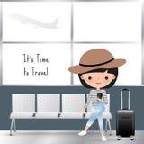 Fumetto di viaggio della donna all'aeroporto Immagini Stock