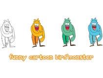 Fumetto divertente colorato per scrivere gli uccelli fatti a mano del mostro di scarabocchio di tiraggio illustrazione di stock