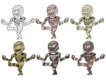 Fumetto divertente colorato per scrivere la mummia fatta a mano del mostro di scarabocchio di tiraggio illustrazione di stock