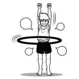 Fumetto divertente del cerchio di hoola del gioco del ragazzo Fotografia Stock Libera da Diritti