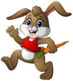 Fumetto divertente del coniglio che tiene una carota Fotografia Stock Libera da Diritti