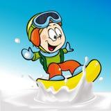 Fumetto divertente del ragazzo che pratica il surfing sul latte che spruzza onda Fotografie Stock Libere da Diritti
