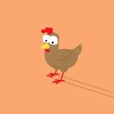 Fumetto divertente della gallina con il fronte sciocco Fotografia Stock Libera da Diritti