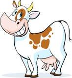 Fumetto divertente della mucca che sta sul fondo bianco Fotografie Stock