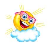 Fumetto divertente della nuvola e del sole illustrazione vettoriale