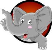 Fumetto divertente della testa dell'elefante Fotografia Stock